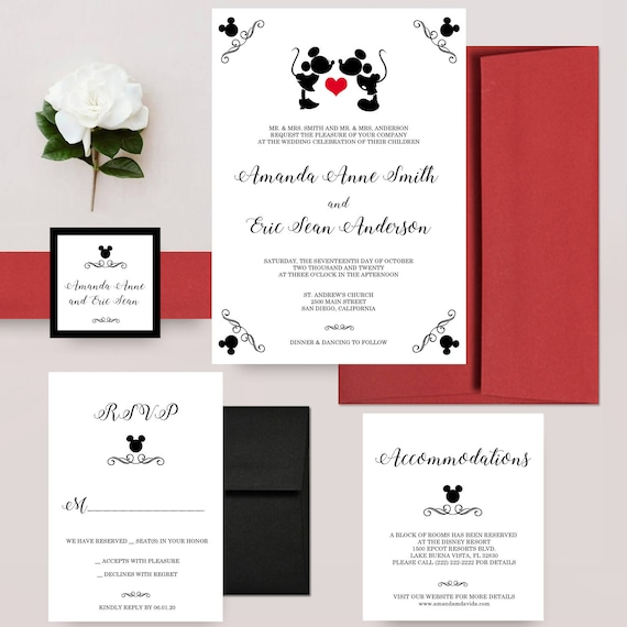 Disney Wedding Invitation: Mickey Mouse Wedding Invitations Mickey And Minnie Disney