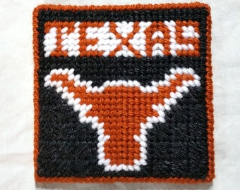Longhorn Inspired College Coaster Plastic Canvas Burnt Orange White