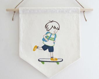 Hand embroidery pattern - skateboard embroidery - boy room decor - PDF - Instant download