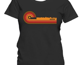Retro Style Madison Wisconsin Skyline Women's T-Shirt