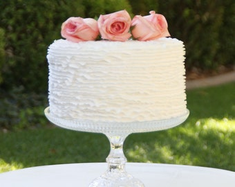 Wedding Cake Stand 11 Inch Cupcake Stand Glass Vintage Reclaimed Serving Platter