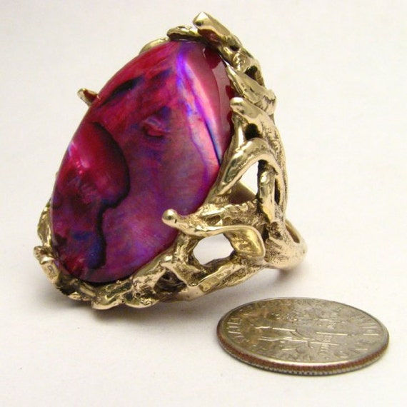 Handmade 14kt Gold Red Paua Shell Massive Claw Ring