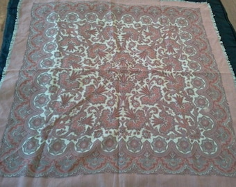 FREE SHIPPING women's scarf  paisley scarf  made in Switzerland  100%wool Blumer  pale rose  scarf 28 x 28  head kerchief