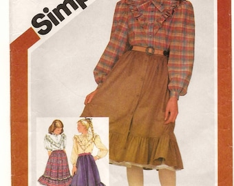 "A Buttoned, Ruffled Blouse and Full Gathered, Ruffled Hem Skirt & Petticoat Pattern for Girls: Uncut - Size 7, Breast 26"" • Simplicity 6045"