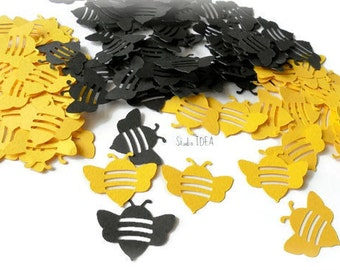 50  Black & Yellow Bee Confetti,  Cut outs - or CHOOSE YOUR COLORS - Set of 50 pcs