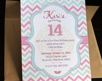 Baby Shower Invitation 10/pk | Baby Invitation | Chevron Invitation | Pastel Chevron Invitation | Zig Zag Invitation
