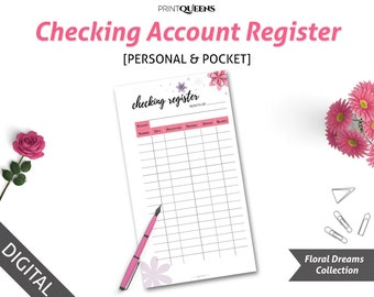 Checking Account Register, Finance Printable, Check Register, Filofax Personal, Pocket Size Planner Insert, Pocket Size Planner Insert