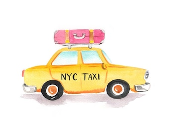 NYC Taxi Art Print (Taxi with Luggage - New York City Wall Art - Taxi Cab - New York City Gifts)
