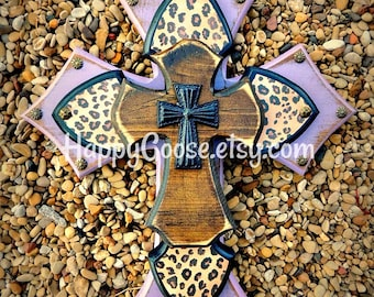 Wall Cross - Wood Cross - X-Small - Antiqued Lavender / Purple, Leopard/Cheetah print, with Brown Stain Layer