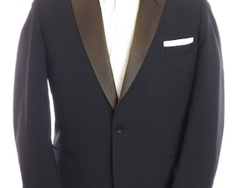 Size ~39R - 1960 bespoke herringbone tuxedo jacket, Gustav Lauff, Philadelphia