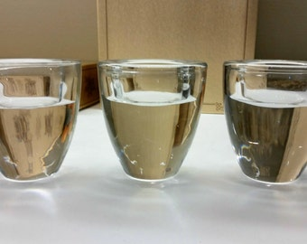 HEAVY GLASS VOTIVE Candle Holders Set of 3 Clear Swedish Modern Style