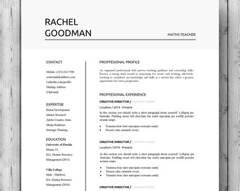 two page resume etsy