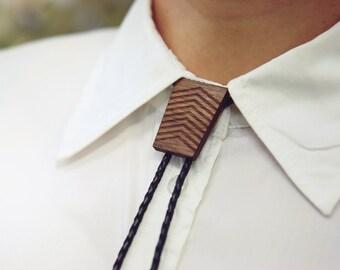 Bolo Tie | Bolo Tie for Men | Trapezium Slide | Modern Bolo Tie | Hipster Bolo Tie | Handmade Bolo Tie | Modern Bolo Tie | Wood Leather Bolo