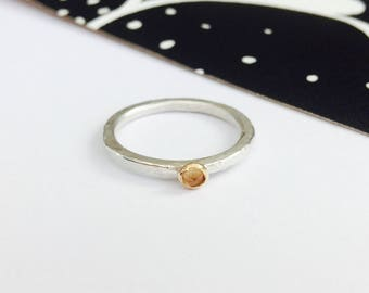 Silver Citrine Ring, Hammered Silver Ring With Citrine Crystal, Stacking Ring, Citrine Ring, Stackable Ring, Birthstone Ring, November Ring