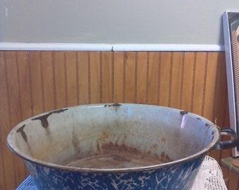 Blue Marbled Granitware, Swirl Enamelware, Large Enamel Pot, Pudding Pan, Antique Pot, Farmhouse Decor, Rustic Decor, Porch Decor
