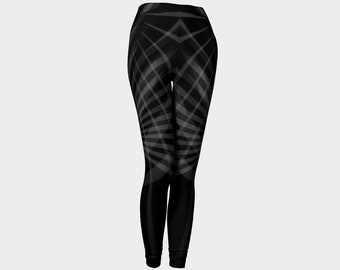 womans black and gray spandex work out fashion leggings tights yoga