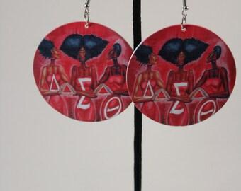 Delta Sigma Theta earrings| 1913| Red Earring| Wooden Earrings| Melanin| Howard Earrings| Big Earrings| Ethnic Jewelry