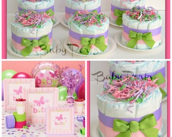 6 Mini Diaper Cakes , ANY COLORS , Baby Shower Decorations , Carter's Baby Girl Baby Shower