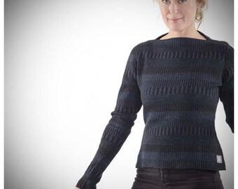 Organic Woolen Jumper with Boatneck Blue/Black