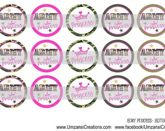 """15 Army Princess Download for 1"""" Bottle Caps (4x6)"""