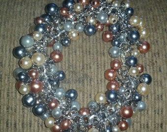 Neutral Colors Glass Pearl Cha Cha Bracelet