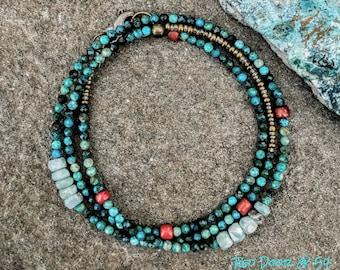 Boho Bracelet, Turquoise Bracelet, Beaded Wrap Bracelet, Dainty Beaded Bracelet, Gemstone Bracelet, Southwestern Jewelry, Bohemian Jewelry