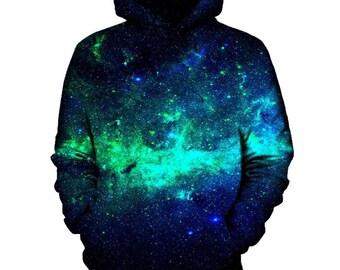 Emerald Galaxy Hoodie | Rave, EDM, Festival Hoodie