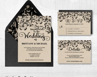Printable Wedding Invitation Set, Editable Wedding Invitation Templates PDF files - Rustic Florals