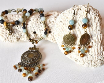 set necklace bracelet and Tiger eye earrings amazonite-high quality