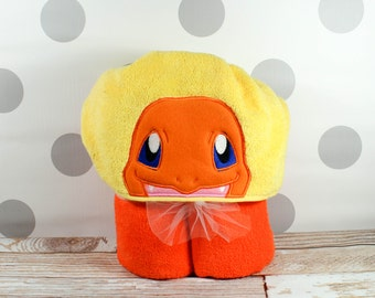 READY TO SHIP Kid's Hooded Towel - Charmander Hooded Towel – In Stock - Charmander Towel for Bath, Beach, or Swimming Pool