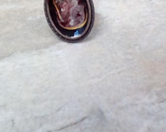 Adjustable dark copper hand painted ring
