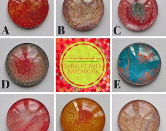 Single Large 30mm Hand Painted Glass Cabochon for Jewellery Making, Bead Embroidery, Beadweaving