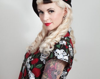 Velvet and Satin Rose Beret, Burlesque, Rockabilly, available in many colours