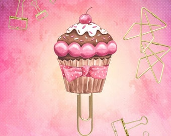 Pink Cupcake Planner Paper Clips. 9 Designs - Novelty Magnets & Planner Accessories - Party Favor Gifts and small gifts. Midori, planners