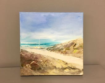 "Beach Painting- Oil Painting- 10 x 10 -1-1/2""painted sides - Cape Cod Scene- Boat- Shore- Rocky Path"