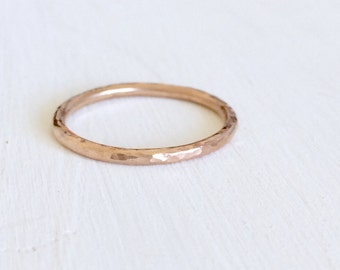 Rose gold midi ring, 9ct rose gold midi ring, solid rose gold fine midi band, rose gold stacker ring, thin rose gold ring, small ring size i