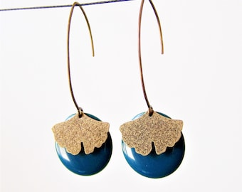 Earrings peacock blue sequin and ginkgo leaf