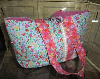 Juliet bag floral print cotton fabric