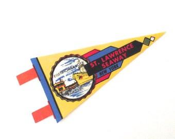 St. Lawrence Seaway Pennant, Vintage Mini Souvenir Flag