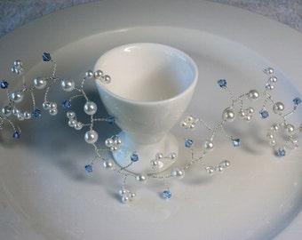 Light Sapphire Crystal Hair Vine, Swarovski Pearl Bridal Hair Vine, Wedding Hair Accessories,Bridesmaid Headpiece,Formal Hair Piece