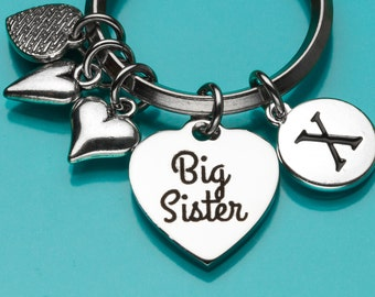 Big Sister Keychain, Sister Key Ring, Sister Gift, Heart Charm, Personalized Keychain, Charm Keychain, 664,793,794,717