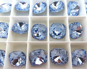 1 Light Sapphire Foiled Swarovski Crystal Square Cushion Cut Stone 4470 12mm