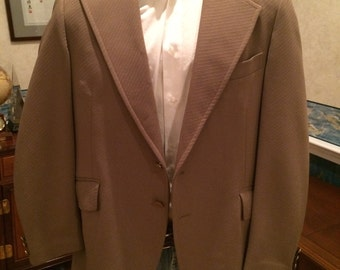 1970s Disco Blazer - Mens Textured Disco Jacket in Caramel Brown from Bernhard Altmann size Large 44R