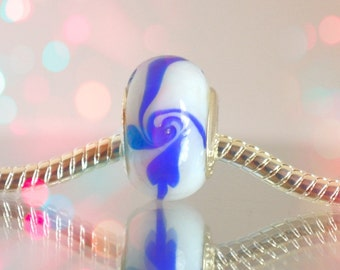 European White Glass Bead with Blue Accents for Bead Bracelet