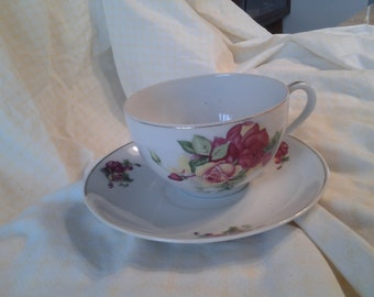 On Sale Cottage Style Made in China Burgandy and Yellow Rose Tea Cup and Saucer Vintage China