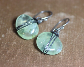 Prehnite Earrings Rustic Wire Wrapped Gemstone Green Earrings Rustic Jewelry Sterling Silver