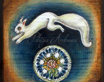 "4.5x4.5"" .Handpainted art block on wood - "" White squirrel with dandelion ""  - ORIGINAL, Painting , folk, woodland, forest,wood,"
