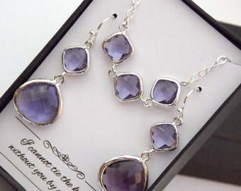 Purple Earring and Necklace Set, Amethyst, Tanzanite, Wedding Jewelry Set, Sterling Silver, Bridesmaid Jewelry Set, Bridesmaid Gift Set