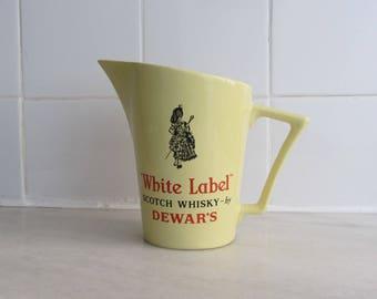 "WADE - Advertising ""White Label Scotch Whiskey Dewars"" pastel yellow ceramic Jug/Pitcher - Made in England - 1950s"
