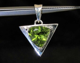 Sterling silver triangle pendant with trillion cut Peridot gemstone